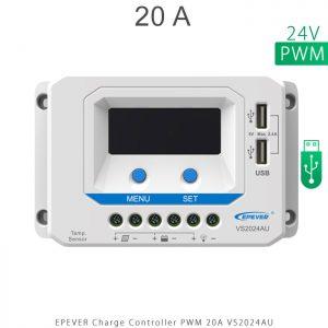 شارژ کنترلر 20 آمپر VS ولتاژ 24 مدل VS2024AU برند EPEVER در فروشگاه خورشیدی هورآیش