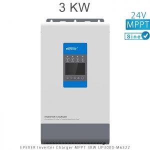 اینورتر شارژر 3KW مدل UP3000-M6322 برند EPEVER ولتاژ باتری 24 تکنولوژی تمام سینوسی MPPT در فروشگاه انرژی خورشیدی هورآیش